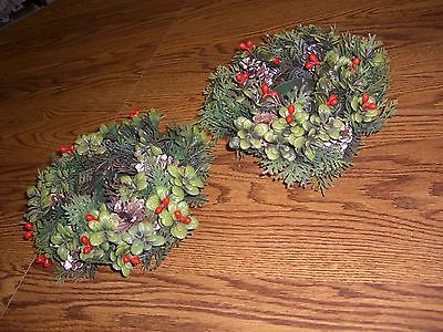 2 Christmas Plastic Green & Red Candle Rings/Pine Cone Accents/Holds 3