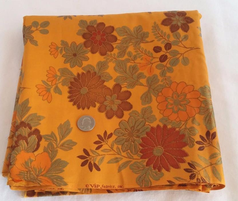 Vintage VIP Fabrics Gold Orange Floral  Cotton 4YDS