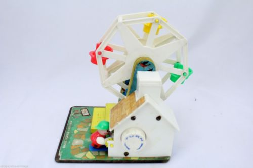 Vtg 1964 Fisher Price Little People MUSIC BOX FERRIS WHEEL #969 Swiss Movement