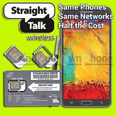 STRAIGHT TALK SIM Card for Samsung Galaxy Note 3 AT&T 4G LTE or Unlocked Phones