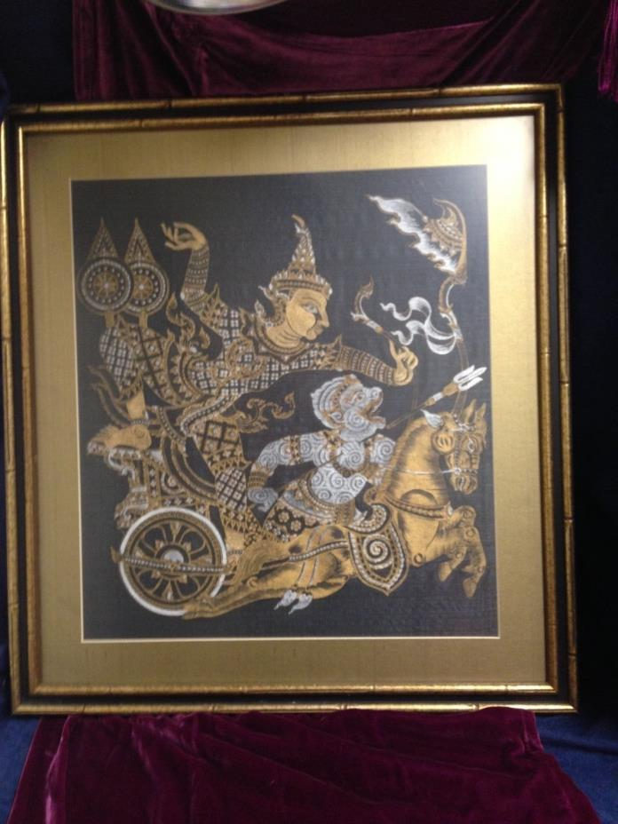 Thai Art on Silk Framed Print Black and Gold 23 x 25 inches