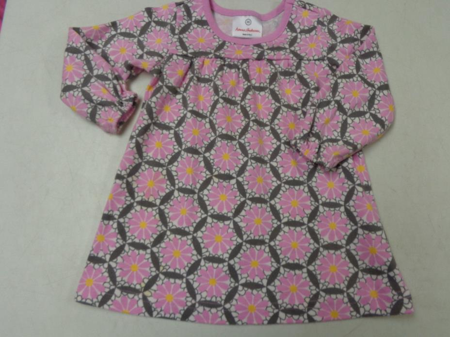 HANNA ANDERSSON PINK  FUN PRINT JERSEY KNIT LS  DRESS  GIRLS  80  18  24   2T