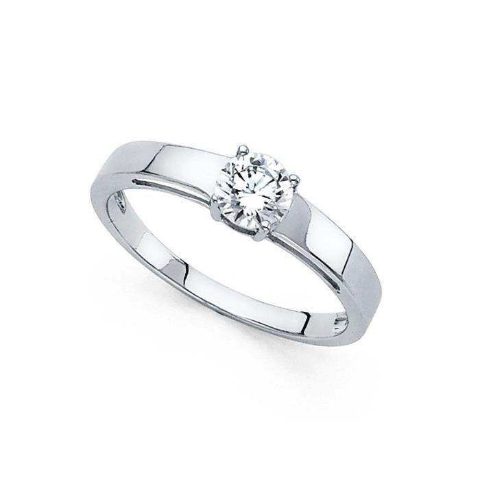 14k Yellow OR White Gold Round CZ Solitaire Engagement Ring CZ Ring Bridal Band
