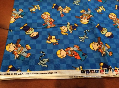Vintage BOB THE BUILDER Blue Fabric Cotton 44
