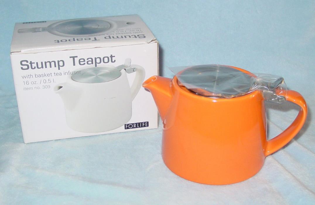FORLIFE STUMP TEAPOT Lid Basket Infuser ~ Orange ~ 16 oz ~ NEW