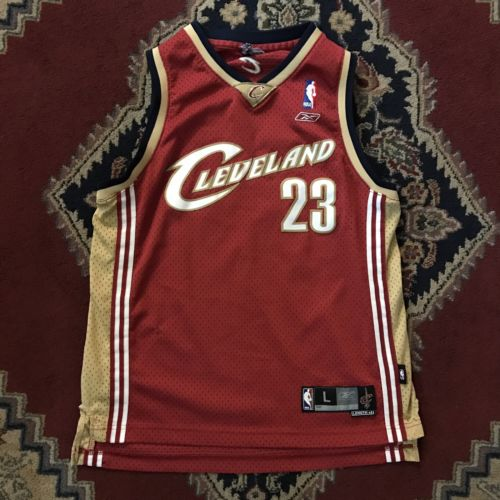 Sewn Vtg Lebron James Cleveland Cavaliers Nba Jersey Youth Boys Size L Large Nba
