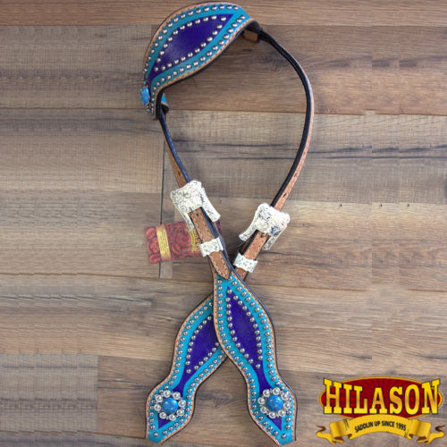 HILASON WESTERN LEATHER HORSE HEADSTALL BRIDLE HAND PAINT BLUE TURQUOISE CONCHO