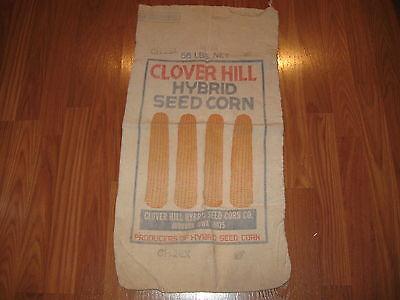 Vintage Old Clover Hill Hybrid Seed Corn Cloth Sack Audubon Iowa IA Farm Adv