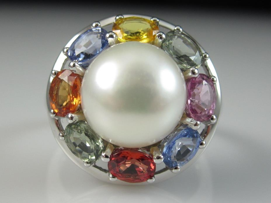 14K Pearl Sapphire Ring Multi-Color Rainbow White Gold Fine Jewelry Size 7