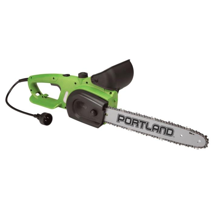 Portland 9 Amp 14 in. Electric Chain Saw Lightweigh Quiet Running Low Kickback