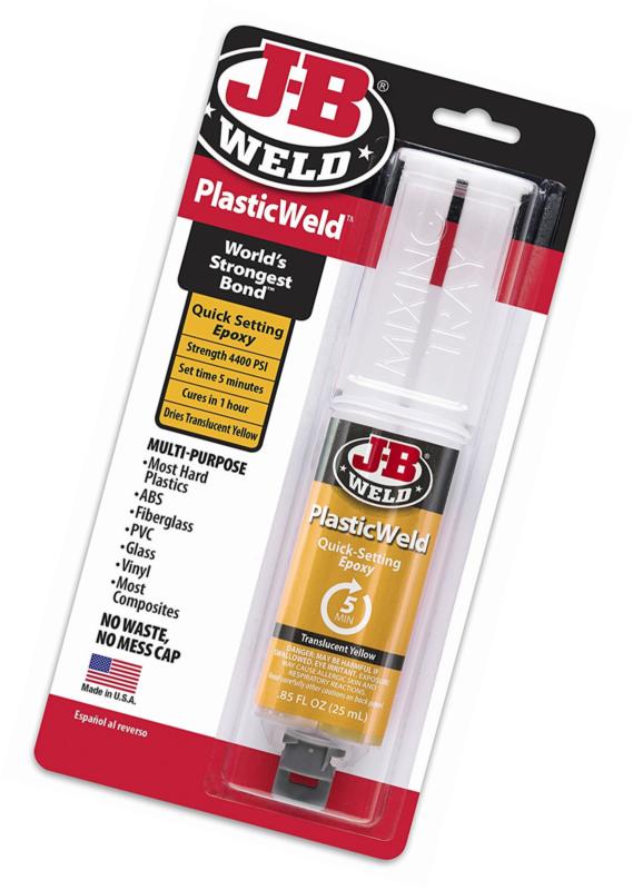 J-B Weld 50132 PlasticWeld Quick-Setting Epoxy Syringe - Dries Translucent Yello