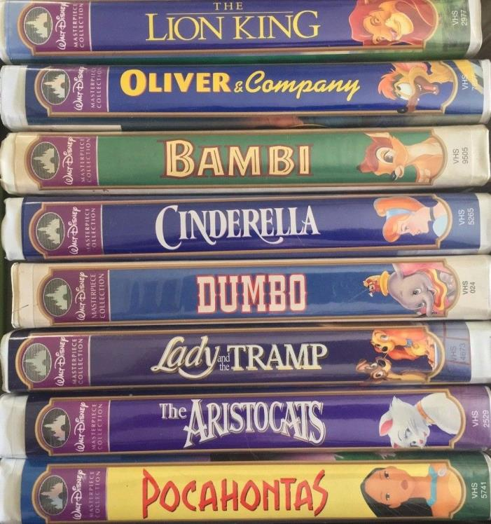 8 Disney Movies VHS Clamshell Walt Disney's Masterpiece Collection Lot