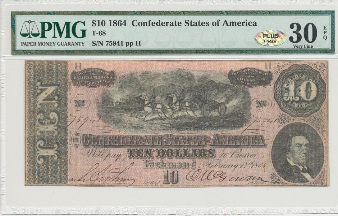 1864 Confederate States of America $10 Ten Dollar Bill Currency Note PMG VF 30