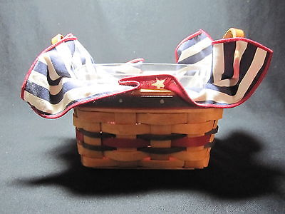 Longaberger 1993 All Star Basket Leather Handles w/ Protector & Liner