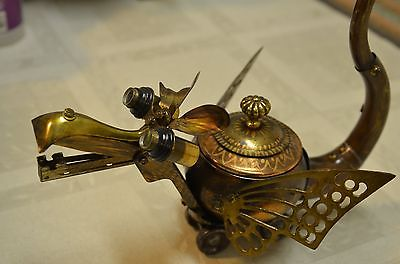 RARE BRASS TEAPOT WINGED DRAGON WITH WHEELS SIGNED BY ARTIST