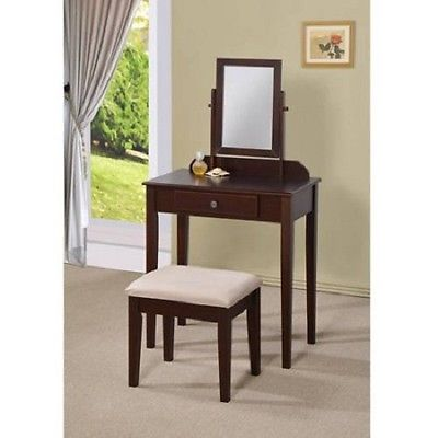 Traditional 3-Piece Vanity Set Bed Room Sitting Rm Cabin W/Mirror Wood Ship Free