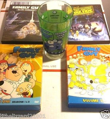 FAMILY GUY DRINKING GAME GLASS W/ SEASONS 1 2 3 BLUE HARVEST DARK SIDE DVD LOT