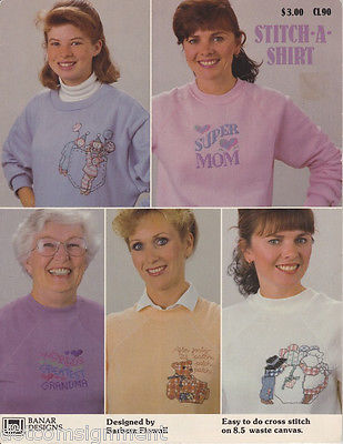Banar Designs Stitch-A-Shirt Easy to Do Cross Stitch on Waste Canvas 5 Designs