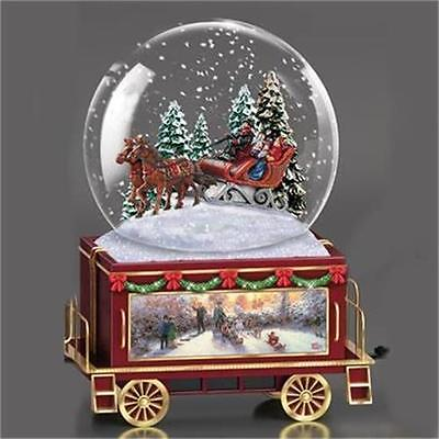THOMAS KINKADE Sleigh Ride Wonderland Express Miniature Snow Globe TRAIN #6 NEW