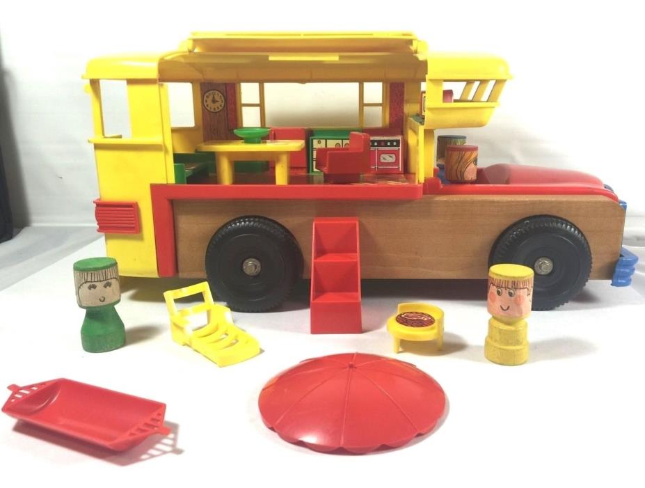 Vintage Playskool School Camper RV Bus Furniture & People 1970's Play Set Toy