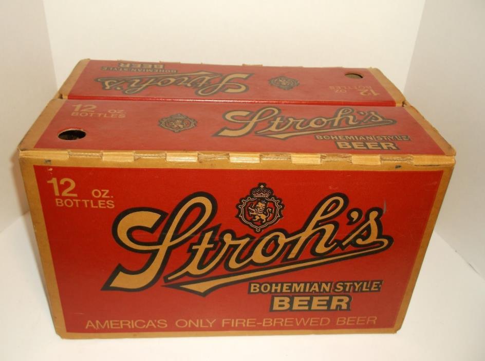 Vintage 70's Strohs Beer Cardboard Case Box