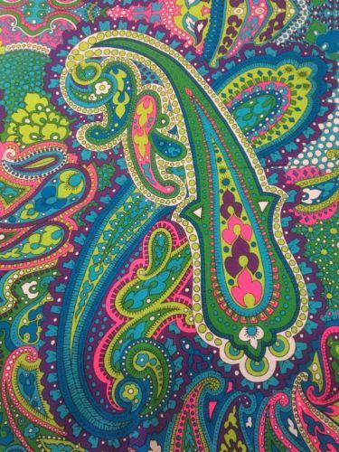 Vintage Fabric THC Hawaiian Textiles 13525 Neon Paisley Print 2 Yards 43