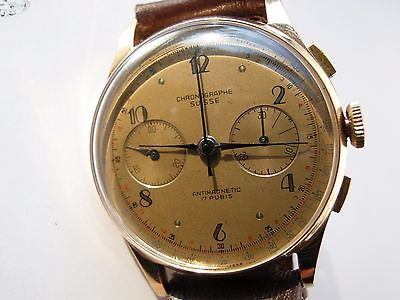 Heavy 18k Rose Gold Art Deco Swiss Chronograph Mens Watch