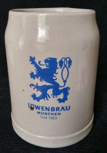 German Stone Ware Stein Beer Mug. LOWENBRAU MUNCHEN Seit 1383
