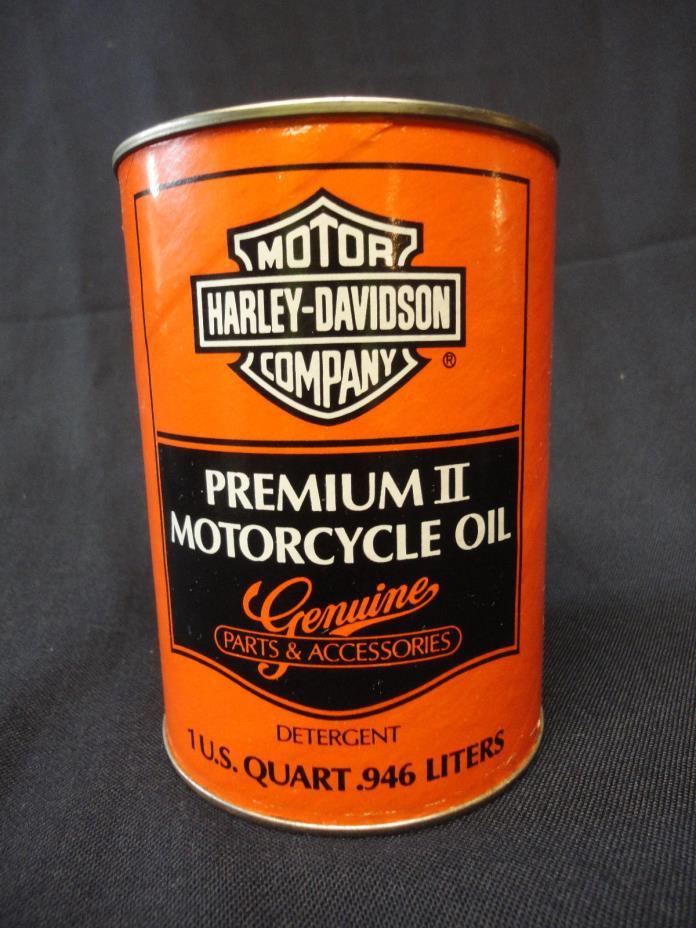 Vtg Harley Davidson Quart Oil Can Premium II Cardboard Full & Unopened Extra Hvy