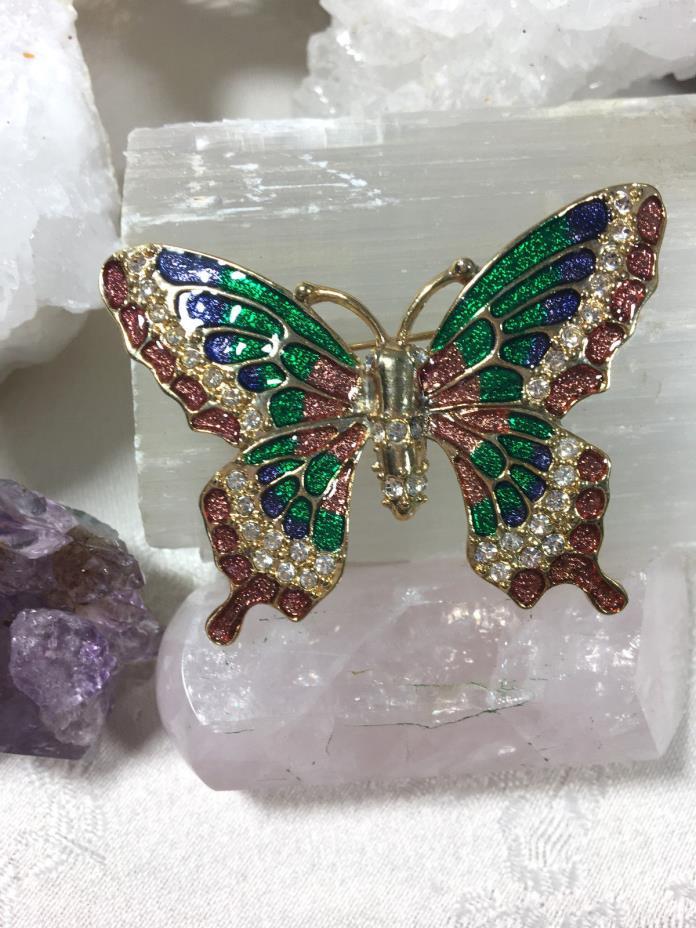 Lovely Pink Green Enamel Rhinestone Butterfly Vintage Jewelry Gold Pin Brooch