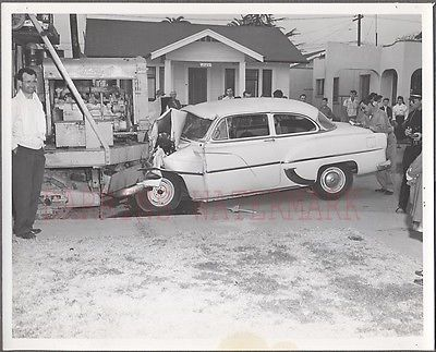 Vintage Photo 1953 1954 Chevy Car vs Truck Wreck Huntington Park Police 273009