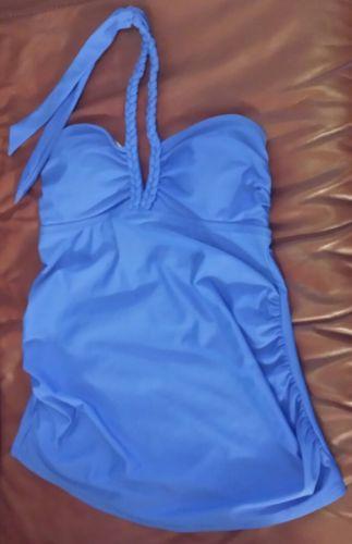 NEW Liz Lange Maternity Tankini Swimsuit Top Size Small Blue