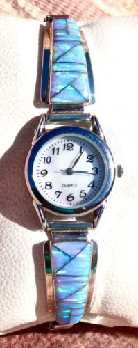 Navajo Lab Opal Sterling Silver Ladies Watch Tips Ted Secatero
