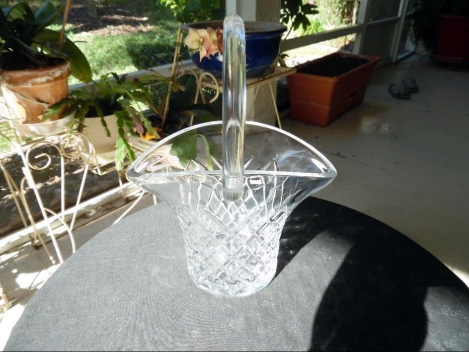 Vintage Brides Basket with Crystal Clear Handle Pressed Glass Edge Etched Design