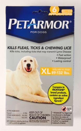 Pet Armor XL Dogs 89-132 lbs - 6 Applicators!  Flea & Tick Prevention Medicine