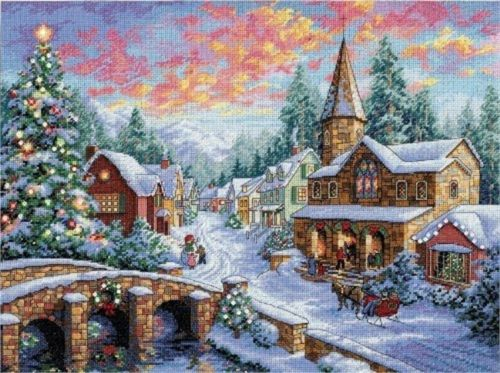 Dimensions 8783 Gold Collection Holiday Village Counted Cross Stitch Kit