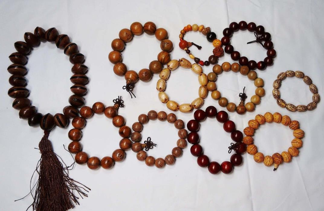 Wood beads bracelets buddha bracelets Rosary  wholesale lots 11 ps USA seller