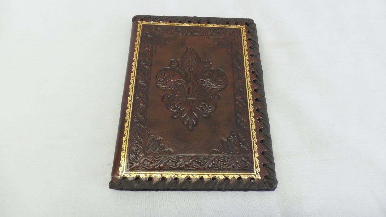 Vintage Embossed Leather FLEUR DE LIS Gold Trim Ribbon Organizer Cover ITALY