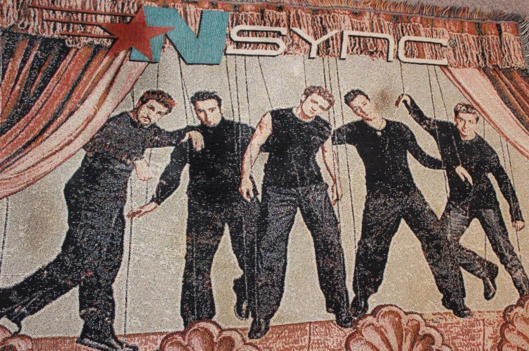 N'Sync Puppets on Stage Band Woven Tapestry Blanket Nsync 48x60 RARE Nice Music