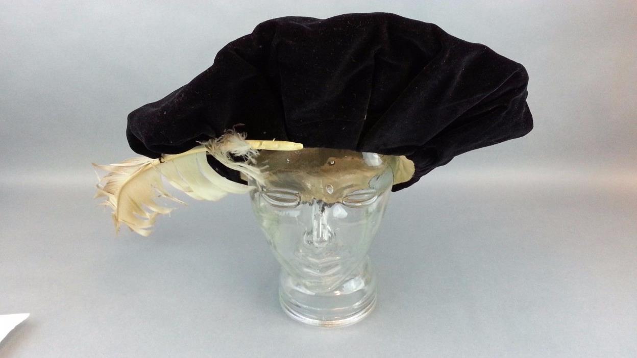 Antique 1800's Knox New York Tudort Bonnet Feather Hat Black velvet