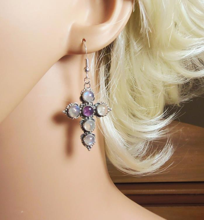 Vintage 925 Silver Cross Earrings (2796)