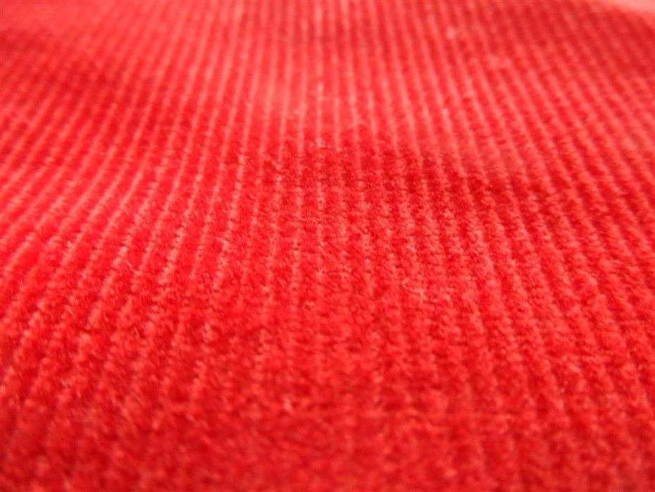 1 1/3 Yard Bright Red Narrow Wale Vintage Cotton Corduroy Fabric 36