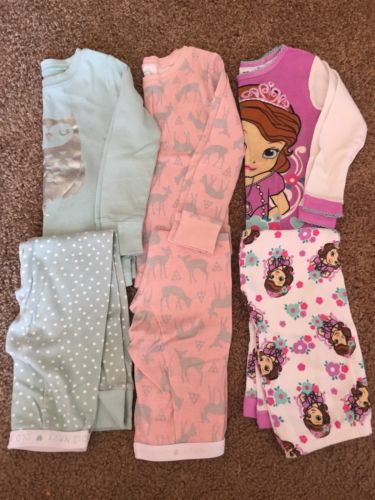 Lot of 3 Long Sleeve Pajamas PJs Girls Old Navy Owl Pink Deer Sofia  First 4T