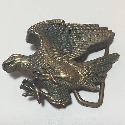 Vintage 1978 Baron Buckle Solid Brass Eagle Belt Buckle