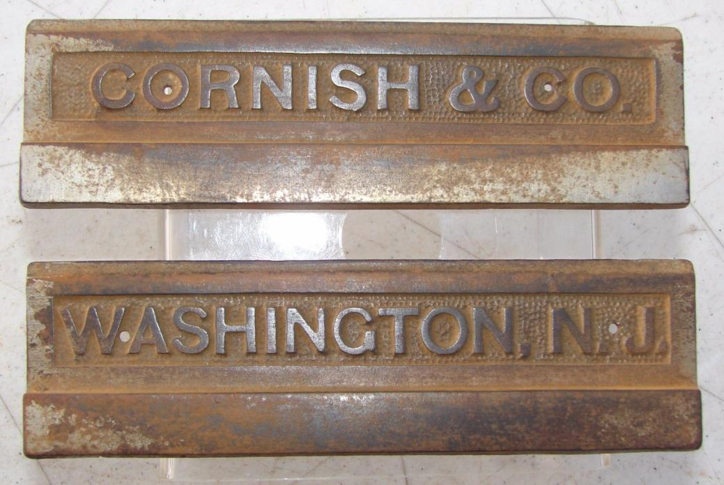 Cornish & Co Washington NJ Pump Organ Foot Pedal Name Plate Cast Iron Hardware