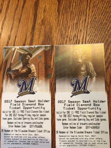 2 Milwaukee Brewers Field Diamond Box Ticket Vouchers Mon - Fri Miller Park 2017