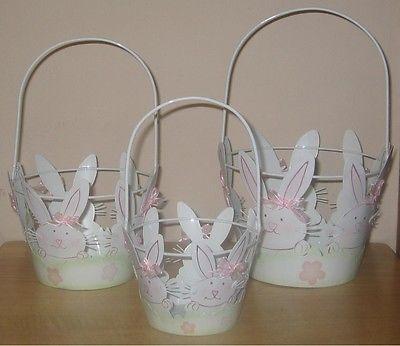 4 Small Metal Bunny Baskets