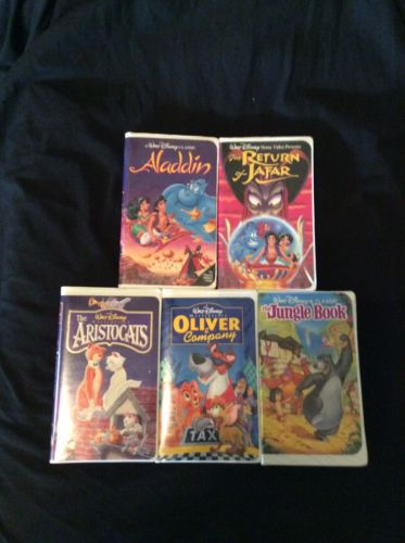 Walt Disney VHS Tapes Movies Lot Of 5 Jungle Book Aladdin The Aristocats Etc