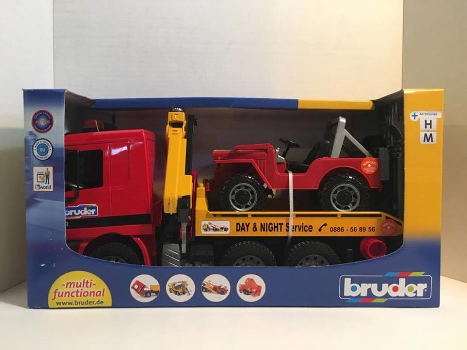NEW BRUDER~MAN TGA BREAKDOWN SERVICE FLATBED TOW TRUCK & CROSS COUNTRY JEEP~1:16