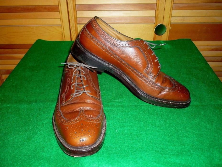 EUC VTG. FLORSHEIM IMPERIAL LONGWING 5 NAIL V-CLEAT BROWN LEATHER SHOES SZ 11D